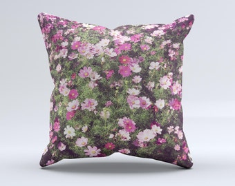 The Vintage Pink Floral Field ink-Fuzed Decorative Throw Pillow