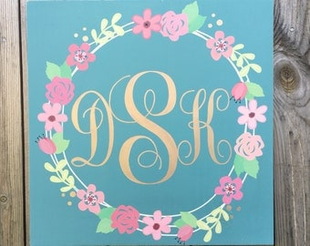 Floral Monogram Sign, Monogram Wooden Sign, Shabby Floral, Girl Nursery Decor, Monogram Sign, Nursery Sign, Baby Shower Sign