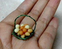 Miniature Egg With Wire Basket All  Handmade Item