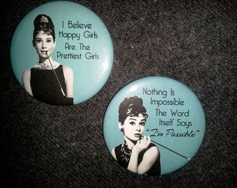 Breakfast At Tiffany's Party Favors /  Audrey Hepburn / Pin Back Button / Set of 2