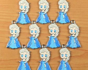 10PCS princess Enamel Metal Charms Pendants Jewelry Making Crafts Boys Girls Birthday Party Favors Gifts DIY