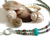 Boho Lanyard, Beach Lanyard, Beaded Lanyard, Boho Key Chain, Beach Key Chain, Sea Turtle Lanyard