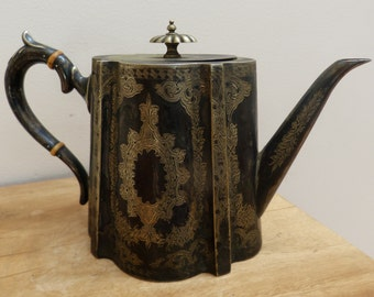 Victorian Patinated Silver-Plate Tea Pot with