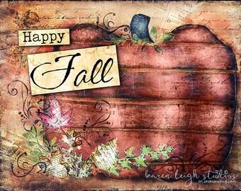 Happy Fall Mixed Media Print
