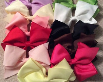 Oversized Hair Bows - Grosgrain Large Classic Bows - Variety of Colors  - Party Favors - White - Black - Pink - Red - Lime - Birthday Party