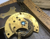 Steampunk moon necklace vintage watch plate with and Swarovski crystals Handcrafted artistic jewelry -The Victorian Magpie