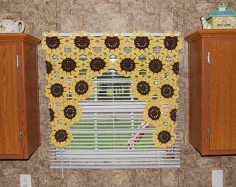 Sunflower Window Valance Sunflower Curtain Crochet Flower Kitchen Curtain Sunflower Decor Bathroom