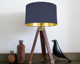 Bespoke Navy Blue lampshade with Gold Mirrored Metallic Lining