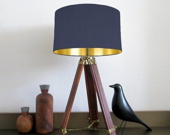 navy drum shade etsy. Black Bedroom Furniture Sets. Home Design Ideas
