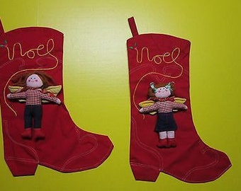 Pair Vintage House of Hatten Appliqued Christmas Stockings Cowgirl Angel Boots