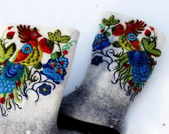 Female felt white boots Winter shoes Valenki Wool watercolor Petrykivka Ukrainian traditional art Folk style ornament Wool needle painting