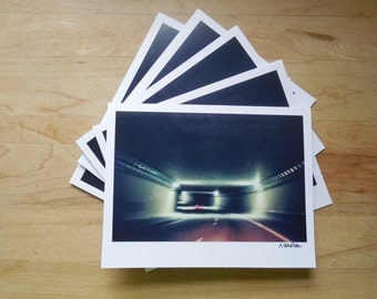 set of five photo cards: light at the end of the tunnel