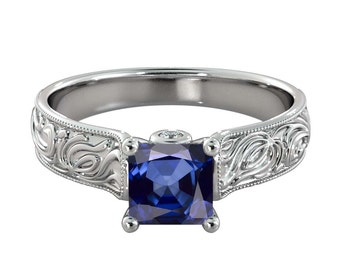Blue Sapphire Ring with Diamonds 14K White Gold Filigree Cathedral Radiant