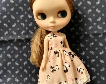 Blythe Doll Outfit Panda Print Pink LAce Dress