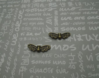 100pcs antique bronze color metal dragonfly wing bead charm , metal dragonfly wing bead pendant , 21x7mm , CP1123