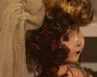 OOAK Horror Doll - 1950s Bloody Bride, Hong Kong Evergreen Doll