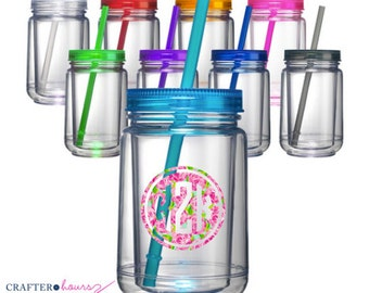 Design your own Mason Jar!! Put any design/monogram on an acylic 16oz. mason jar - Monograms, names and other designs are available