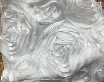 White Satin Rosette Fabric, Floral Satin Fabric, 3D Rosette , Rosette Fabric Flower Satin,Fabric By The Yard