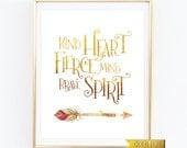 Kind Heart Fierce Mind,Brave Spirit Print,Gold NuseryArt, Arrow Art, Motivational Print, Tribal Nursery Art, Inspirational Quote, Art Print