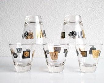 Set of 5 Vintage Cera Houze Shot Glasses Mid Century Black and Gold Coin Retro Urban Loft Barware