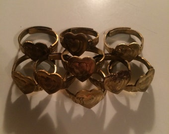 1950s embossed adjustable brass ring!
