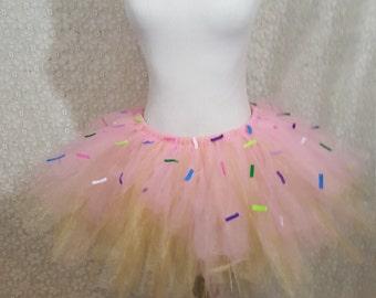 Adult Sprinkled Pink Donut Tutu, Pink Donut, Pink Doughnut, Pink Cupcake, Doughnut Tutu, Doughnut Costume, Donut Costume, Sprinkle Costume