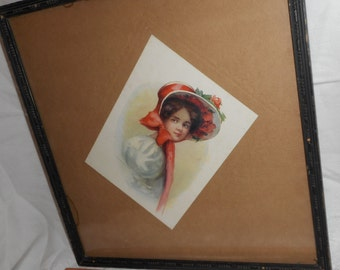 "Antique Girl in Bonnet Hat Print in Antique Detailed Wood 14.5"" Square Frame"