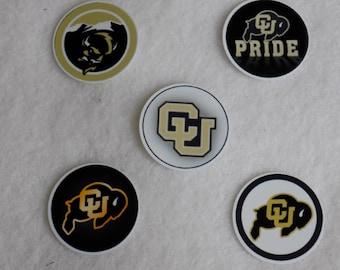 University of Colorado-Boulder Buffaloes buttons flatbacks pins magnets shankbacks