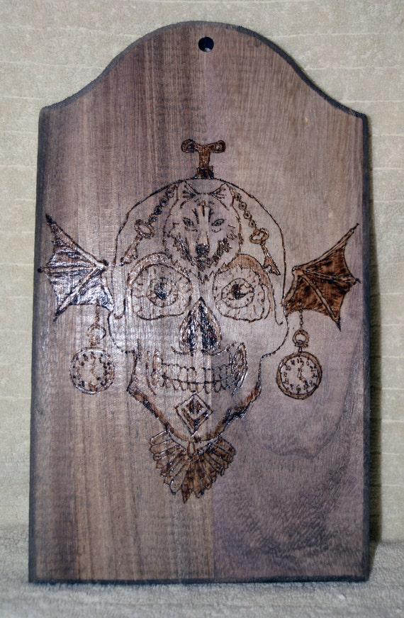 Pyrography, Skull, Wolf, Clocks, Bat Wings, Abstract, Wall Art, Home Decor, Steam Punk, Gothic