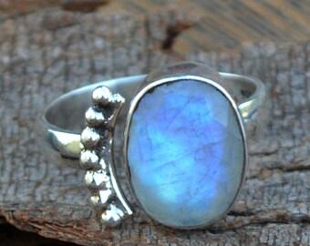 Rainbow Moonstone Ring,Faceted Moonstone Gemstone Ring, Designer 925 Sterling Silver Ring, Bezel Ring ,Adjustable Ring, June Birthstone Ring