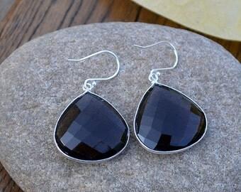 Smoky Quartz Dangle Earrings, Smoky Quartz Bezel Gemstone, Smoky Gemstone Drops, Briolette Earrings, Beach Wedding, Sterling Silver Earrings