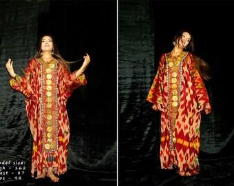vintage uzbek-kungrat hand-embroidered silk ikat women's dress from boysun m012