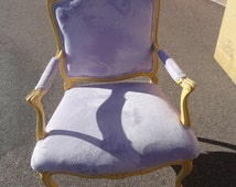 Fab Vintage French Chair with New Purple Fabric