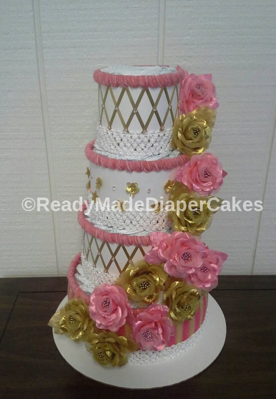 Coral And Gold Elegant Roses Themed Baby Girl Shower Party