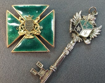 Enameled Coat of Arms Costume Brooch and Pendant-Free shipping