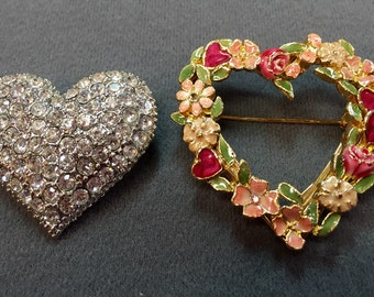 Two Heart-shaped Brooches.  Free shipping