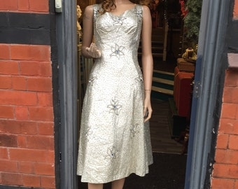 SALE Beautiful silver 1950's dress with stunning details sold as seen