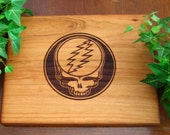 Grateful Dead, Steal Your Face, Sacred Geometry, Lightning Bolt or Flower of Life, Personalized, Cherry, Cutting Board, Gift, Dead Head