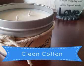 Clean Cotton - Soy Candle - 16oz Tin