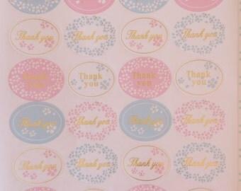 120 Pastel Thank You Sticker Seals