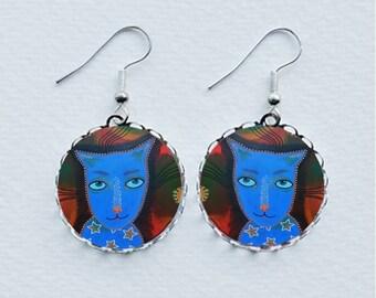 Cat Earrings Blue Kitten Animal Funky Cats Pet Jewellery Jewelry Unusual Unique Gifts Cat Lovers