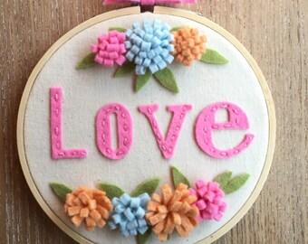 Embroidered wool felt hoop art, baby girl room decor, shower gift, hoop art