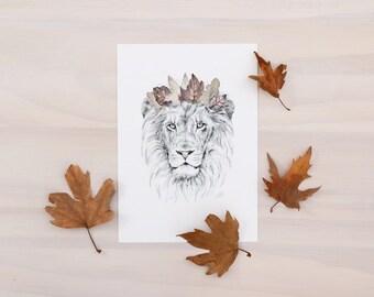 Lion art print - Animal art print of lion and crown