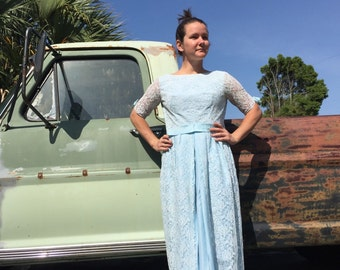 Vintage 50's 60's blue lace and bows prom dress gown