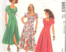 """McCalls 8653, Sz 14-18/Bust 36-40"""". EASY Flared Princess Seam Dress with Square neck/Scoop neck/Sweetheart neckline options, UNCUT pattern"""