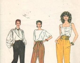 Vogue 8338, Sz 10.   Misses Vintage Capri/Pedal Pushers/Tapered Ankle Pants, UNCUT 80's Very Easy Pants Pattern