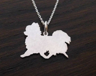 Chihuahua ( long haired) trot Sterling silver pendant