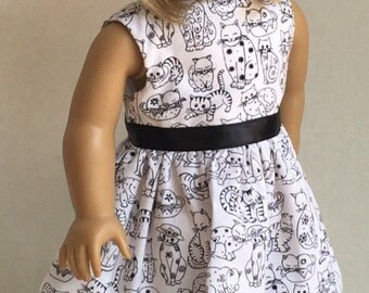 """18"""" Doll Clothes American Made Doll Dress Fits 18"""" Girl Dolls - Black and White Kitties - I Love Cats"""