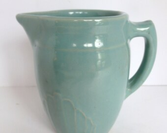 Vintage Teal Stoneware Pitcher from Monmouth Pottery.  Blue Green Pitcher. Cottage, Farmhouse Kitchen Decor