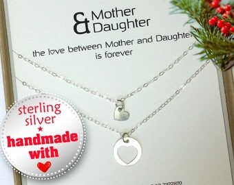 Mother daughter necklace set. Mothers day gift .Mom Daughter. Christmas gift for mom . Moms Birthday